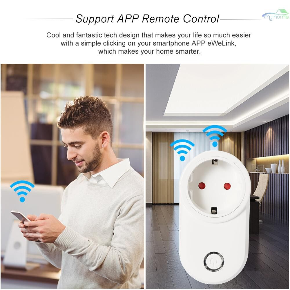 Plugs & Adapters - MINI Smart WiFi Socket EU Type E Smart Plug Remote Control by Smart Phone from Anywhere - WHITE-EU-E / WHITE-EU-E-USB
