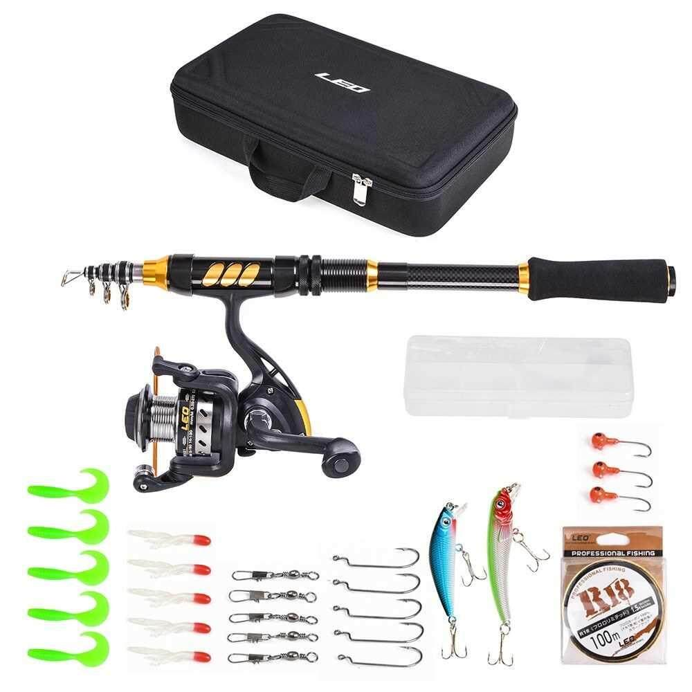 Fishing Rod and Reel Combo Carbon Fiber Telescopic Fishing Rod with Spinning Reel Fishing Line Lures Hooks Swivels Saltwater Freshwater Travel Fishing Accessories Kit