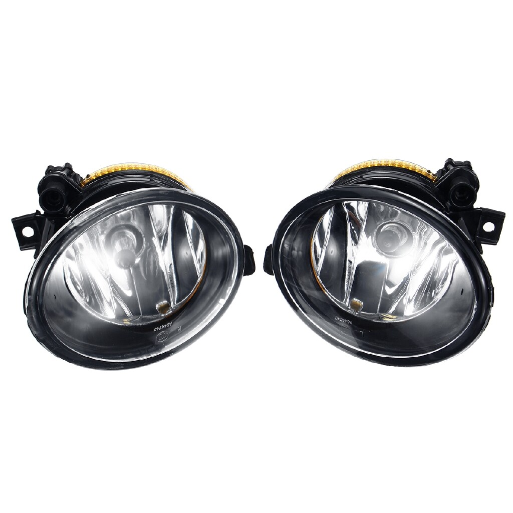 Car Lights - Pair Front Bumper Fog Light with Grilles For VW Transporter/Caravelle 2009-2015 - Replacement Parts