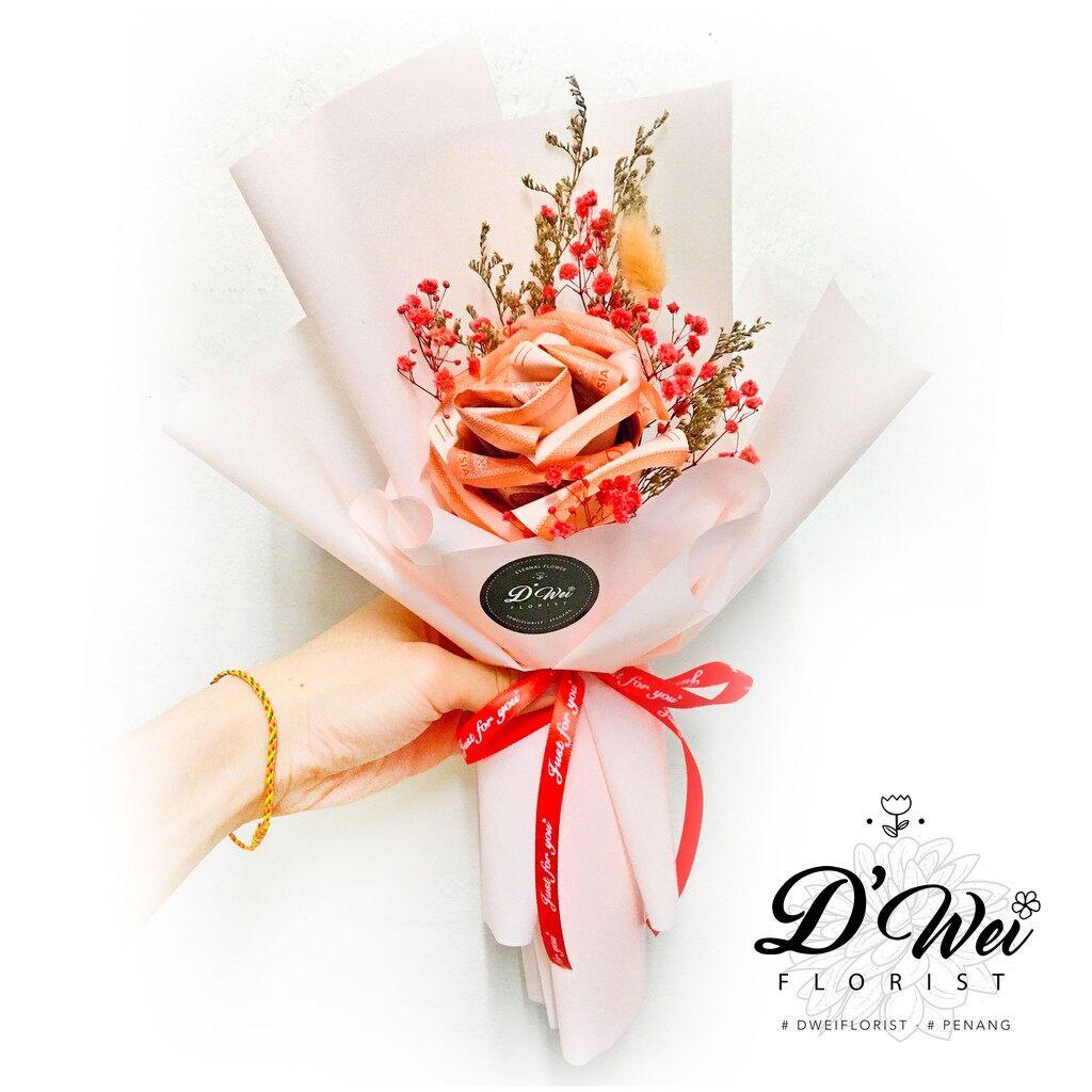 RM50 Cash Rose Bouquet Flower + Preserved Baby Breath Gift   Birthday   Mother's Day   Valentine