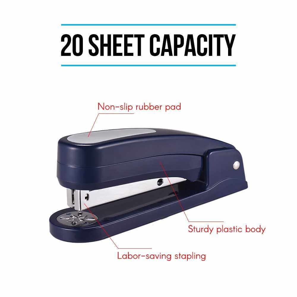 KW-TRIO 360 Degrees Rotary Stapler Heavy Duty Eight Orientations Manual Staplers Compatible 24/6 26/6 Staples Office Supplies Desk Accessories 1PCS Blue (Blue)