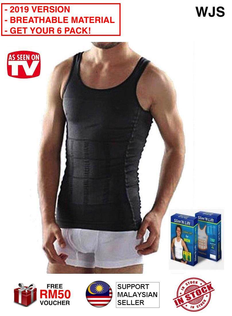 (WITH ORIGINAL PACKAGING) WJS 2019 Version Genuine Original Slim N Lift Body Shaper Men Body Shaper Slimming Vest Men Tanks Men Singlet Men Shapewear Fitwear Fit Wear 6 Packs Six Packs MULTIPLE SIZES BLACK WHITE [FREE RM 50 VOUCHER]