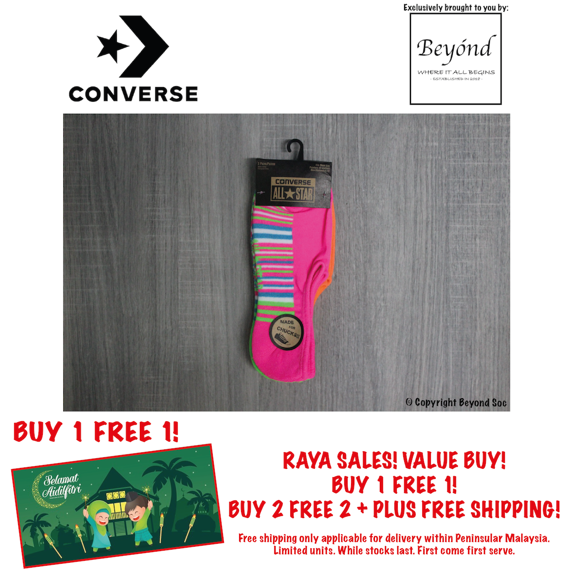 [3 Pairs] Converse Men Neon Strip Glow Made For Chucks 3-Pack No Show Socks (Size: UK 6 - 10)