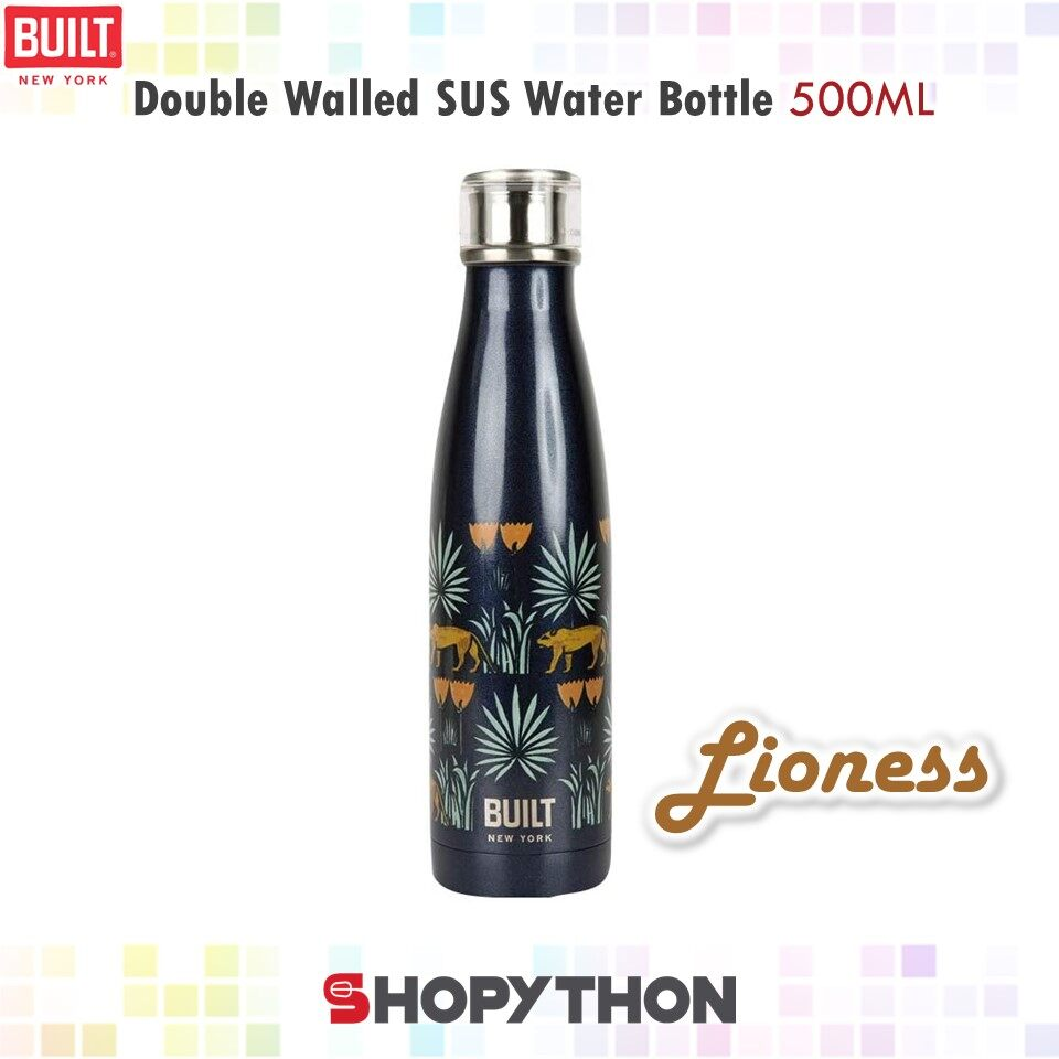 BUILT NY V&A Double Walled Stainless Steel Water Bottle 500ml (Lioness) Perfect Seal Technology New York Thermal Flask Thermos Stylish