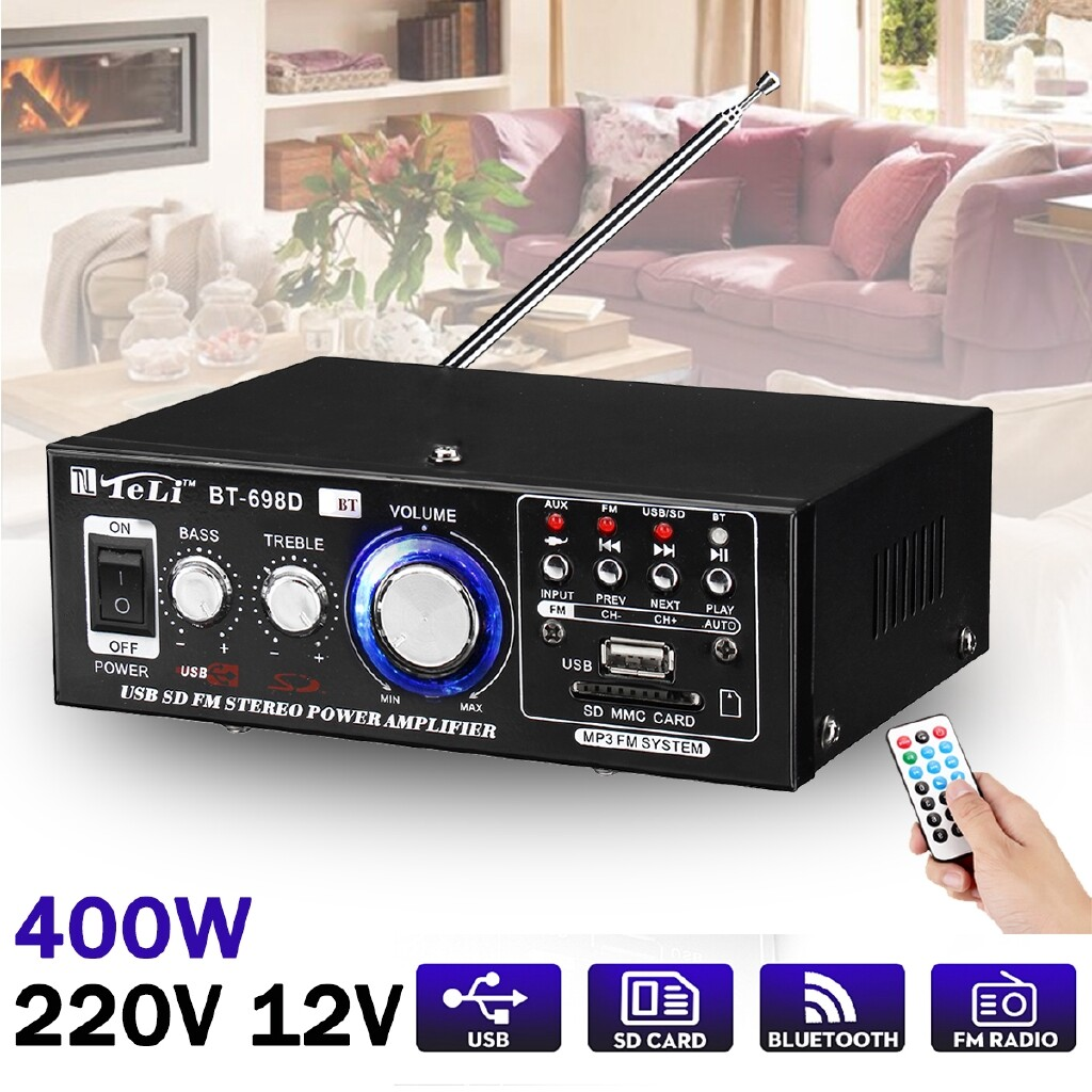 Amplifiers & Receivers - MINI Car Radio Audio 400w Hifi Power Stereo Amplifier BLUETOOTH USB Fm SD Home - Home Entertainment