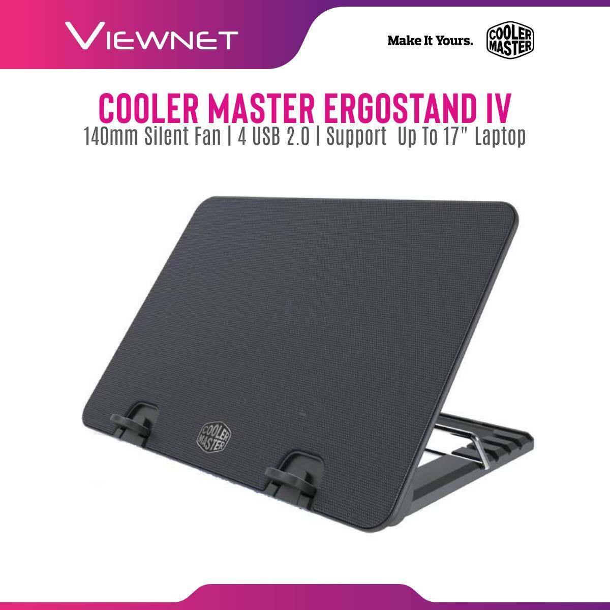 Cooler Master ERGOSTAND IV 140mm Silent Fan Height-Adjustable Ergonomic Mesh 4 USB 2.0 Notebook Cooler for up to 17