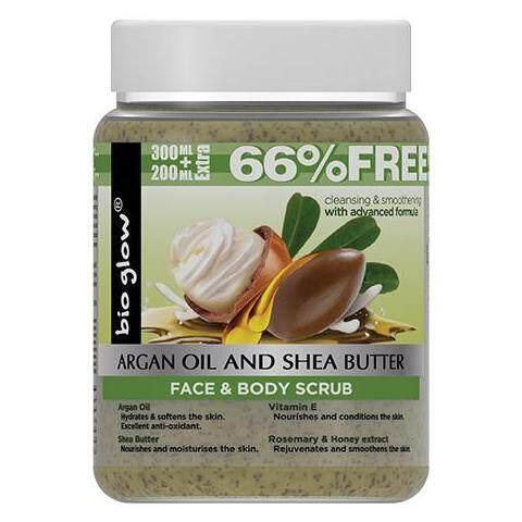 BIO GLOW Argan Oil, Shea Butter, Face And Body Scrub 500 ml