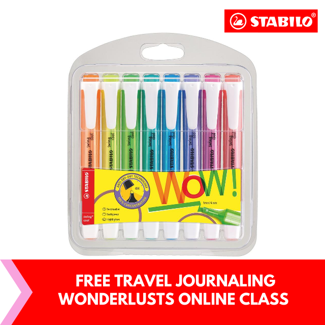 FREE Travel Journaling for Wanderlusts : STABILO® swing® cool Highlighter Pen and Text Marker (Wallet of 8)