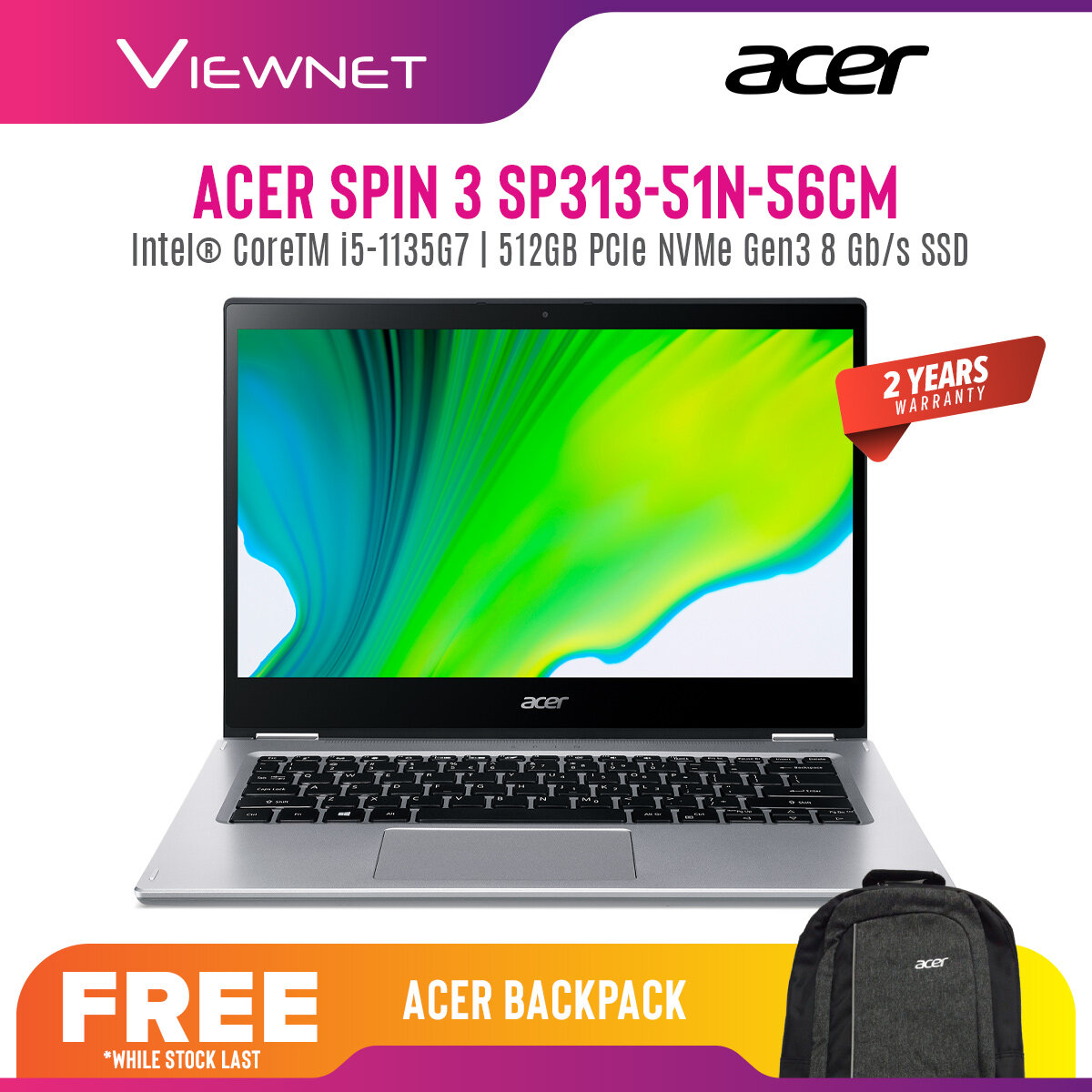 ACER SPIN 3 SP313-51N-56CM 13.3 IPS WQXGA 2k Touch (CORE i5-1135G7,8GB DDR4,512GB SSD,IRIS GRAPHICS,WIN10)