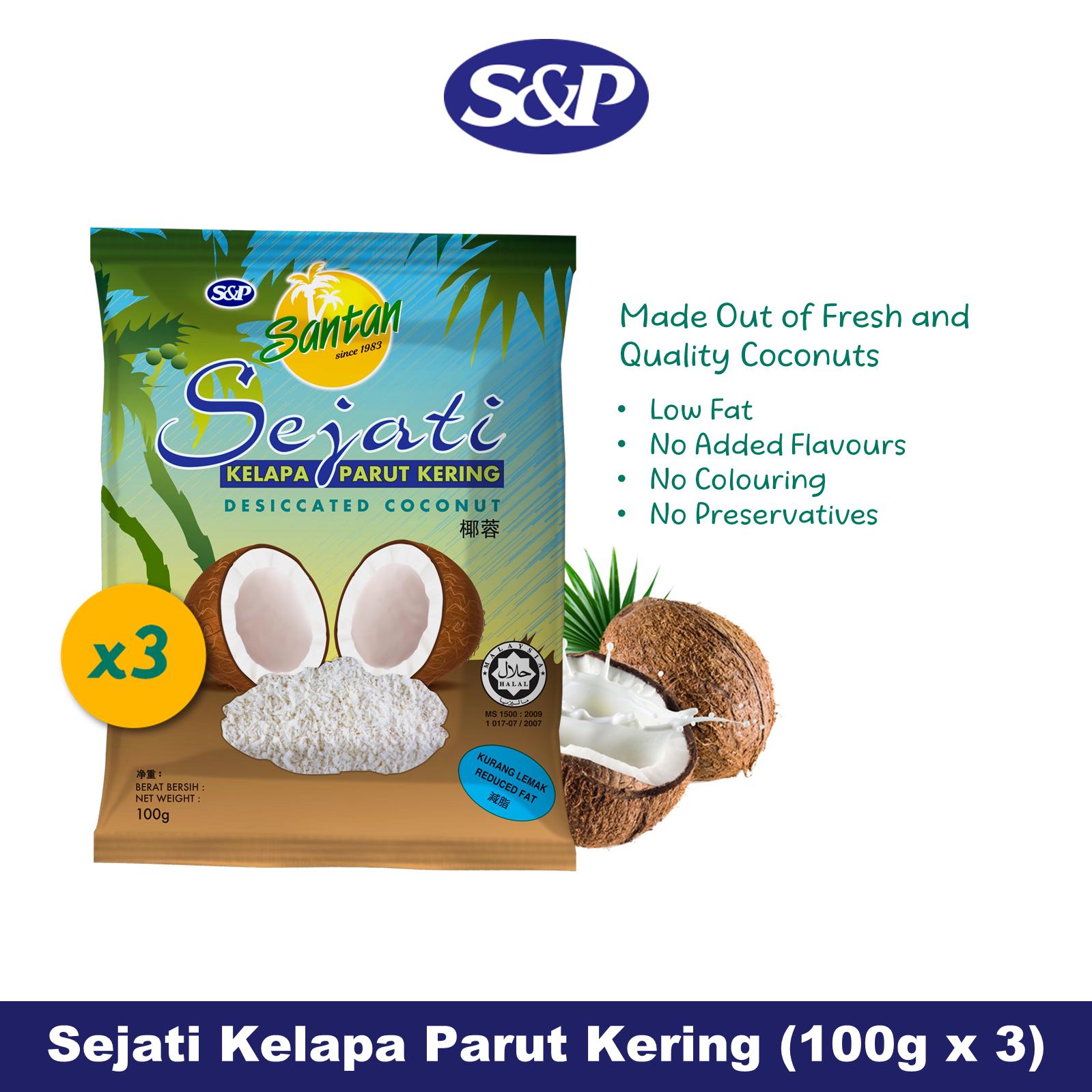 S&P Santan Sejati Desiccated Coconut Kelapa Parut Kering (100g x3)