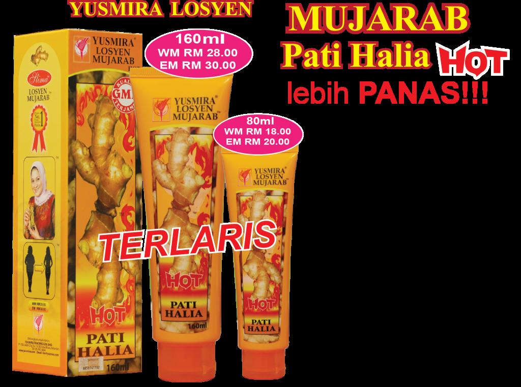 Yusmira Lotion Mujarab Hot Pati Halia 160ml