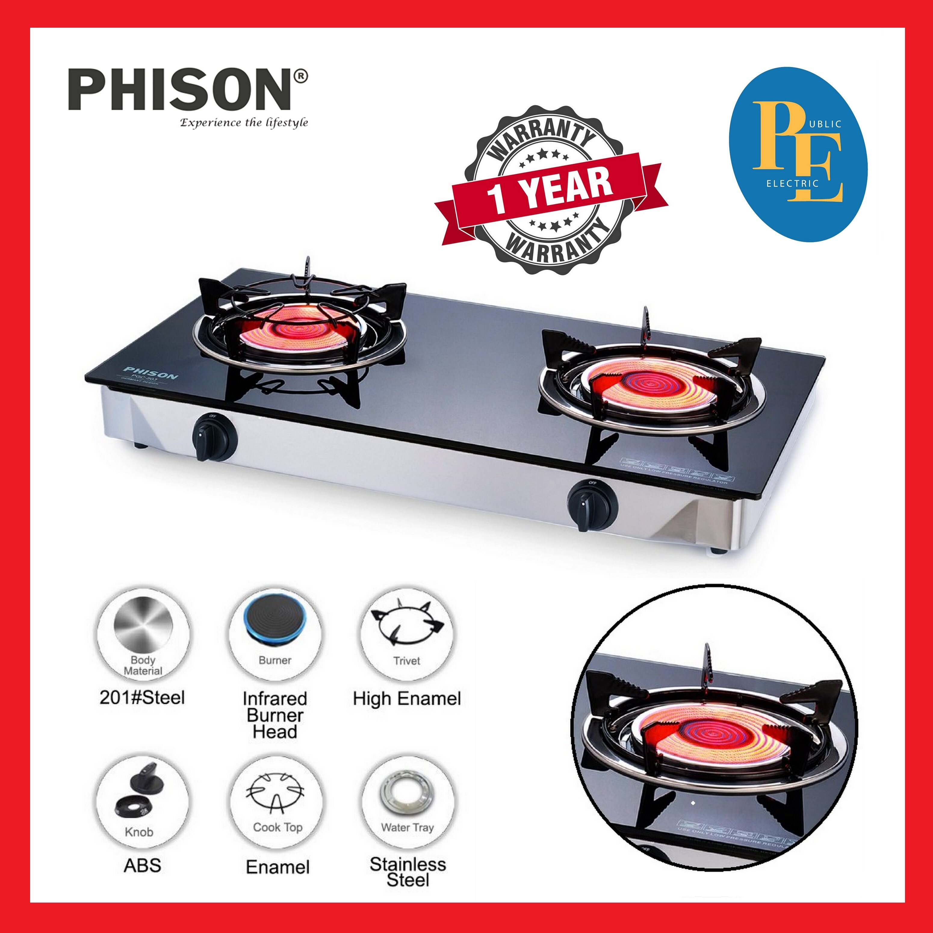 Phison Infrared Burner Glass Top Gas Cooker Gas Stove - PGC-503