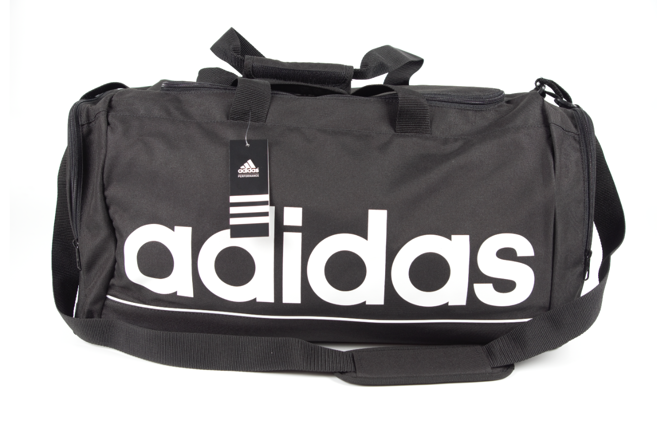 ADIDAS Linear Core Duffel Bag Medium With Long Strap Multiple Compartments