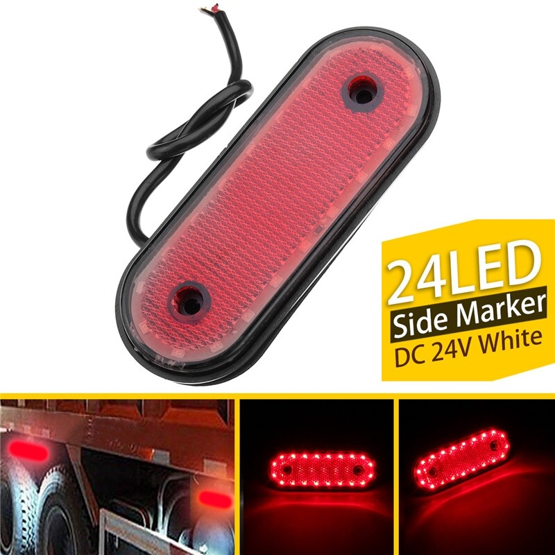 Car Lights - 1 PIECE(s) Red LED Light Oval Trailer Truck Side Marker Lamp 24V 20LED - Replacement Parts