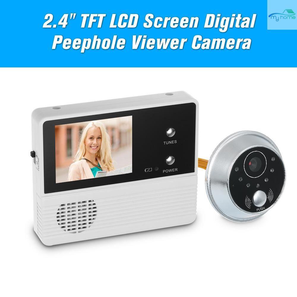 Security & Surveillance - 2.4 TFT LCD Screen Digital Peephole Viewer Camera Door Monitor Electronic Digital Door Monitoring - WHITE&BLACK