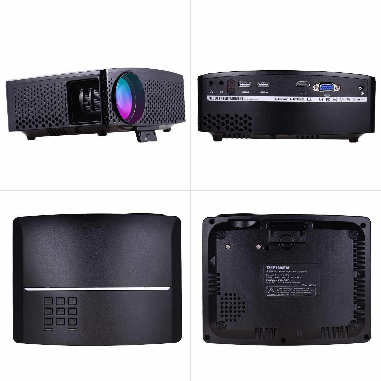 GP80 Mini LED Video Projector 1080P Supported 3500 Lumens 120 Inch Display Built-in Stereo Speaker with AV/USB/HD/VGA Interface Portable Movie Projector for Home Theater Entertainment (Black)