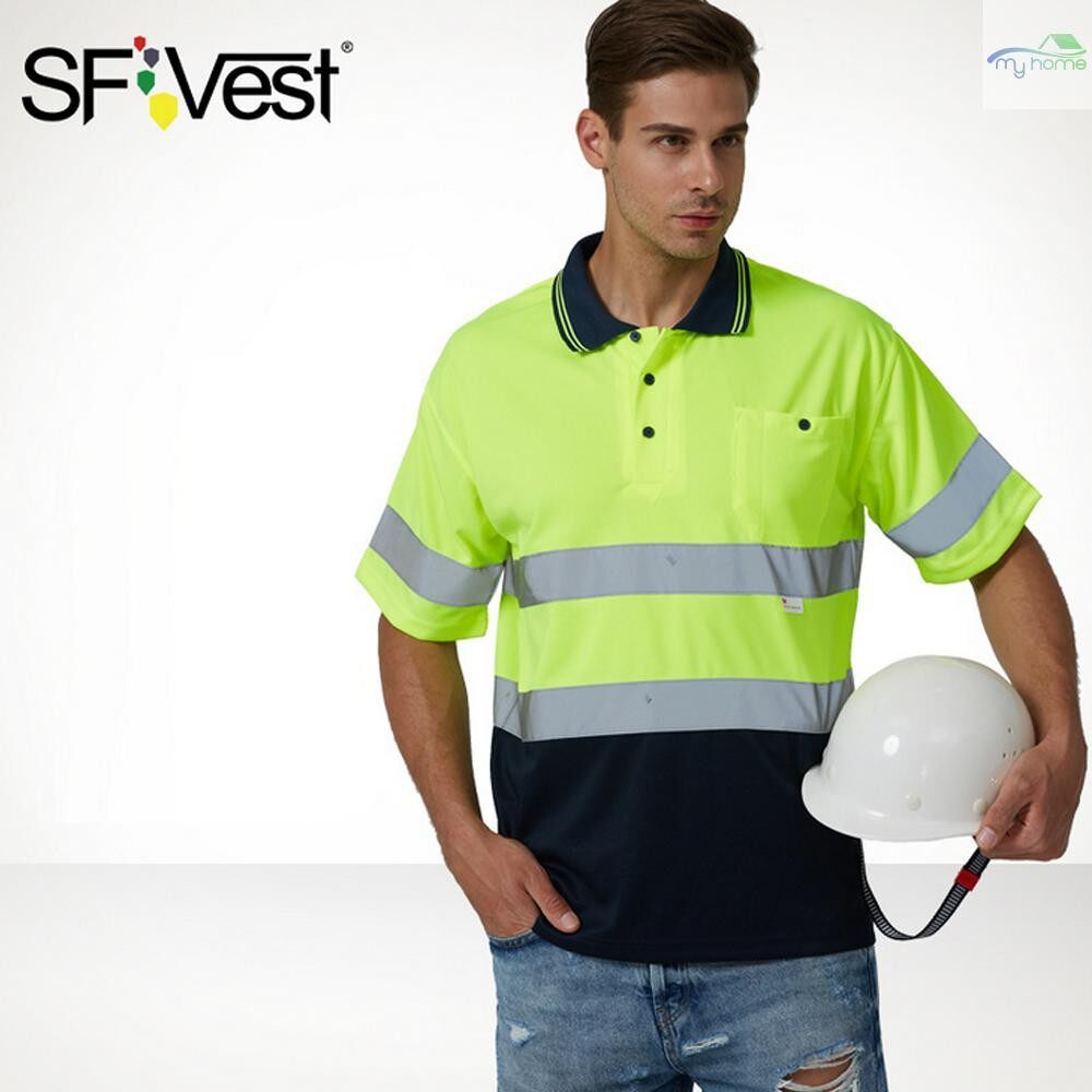 Protective Clothing & Equipment - SFVest Safety Reflective Shirt High Visible Short Sleeve Pocket T-Shirt Silver Reflective Tapes - YELLOW&NAVY BLUE-XL / YELLOW & NAVY BLUE-L / YELLOW & NAVY BLUE-M