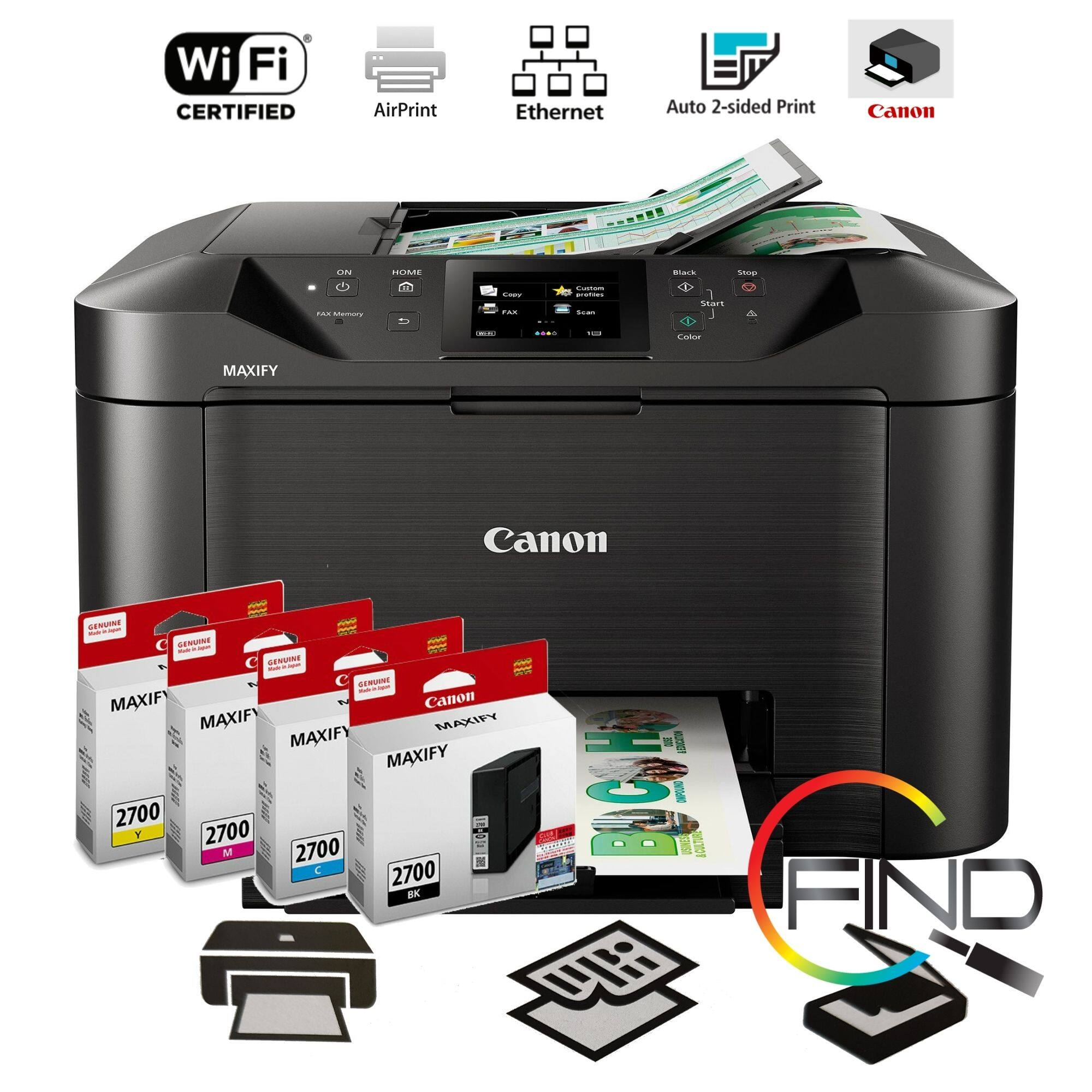 CANON MAXIFY MB5170 ALL-IN-ONE BUSINESS INKJET PRINTER (PRINT/SCAN/COPY/FAX) with Auto- Duplex Print for Highlighter and Water Resistant Documents (FINDC)