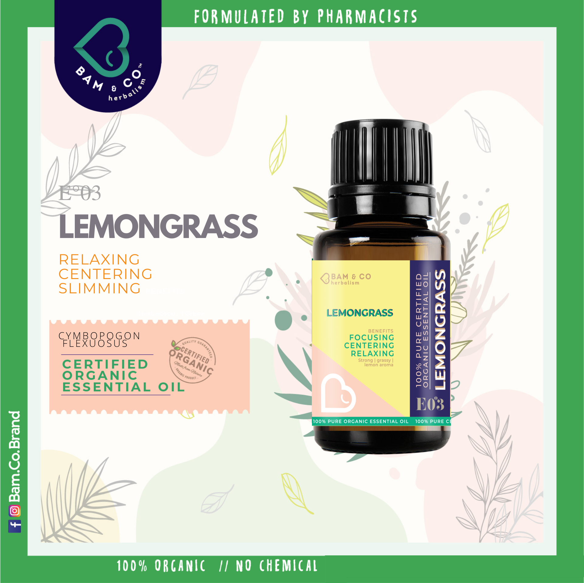 BAM & CO. LEMONGRASS CERTIFIED PURE ORGANIC ESSENTIAL OIL PERFECT FOR HUMIDIFIER 5ML 10ML AROMATHERAPHY