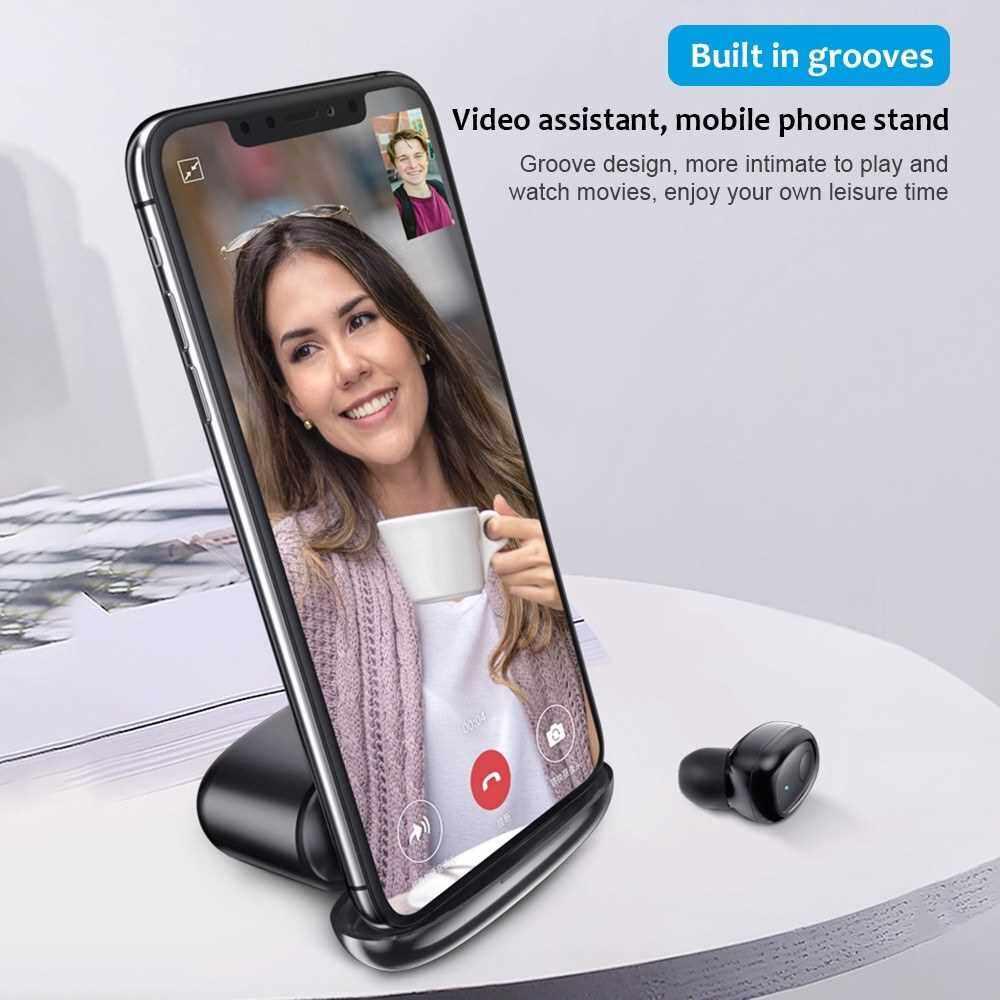 People's Choice G5S Bluetooth 5.0 Headphones In-Ear Wireless Earphone Power Bank Business Headset with Mic Handsfree Earbuds Mini Smart (Black)