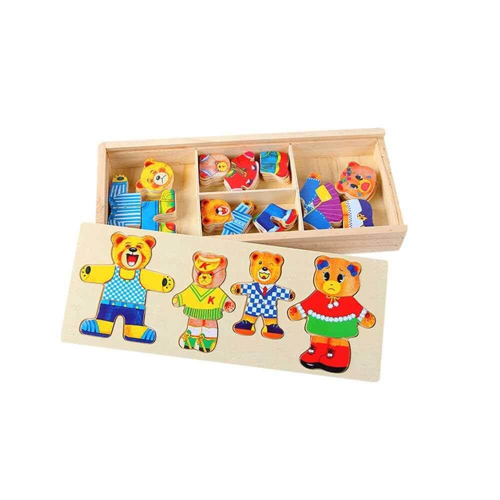 Wooden Dress Up Bear Dressing Jigsaw Wooden Puzzle Set Bear Dress Changing Educational Toys