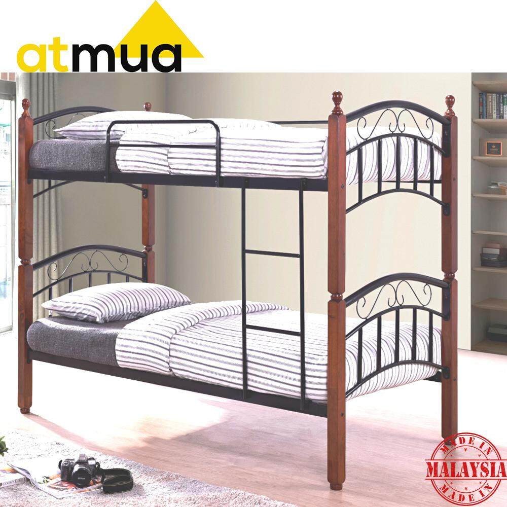 Atmua Karman Bunk Bed Double Decker Single  Size Double Decker Metal + Wood Bed Strong & Sturdy *Easy Install  / Katil Besi ( Net Base ) Can Split into 2 Single Bed