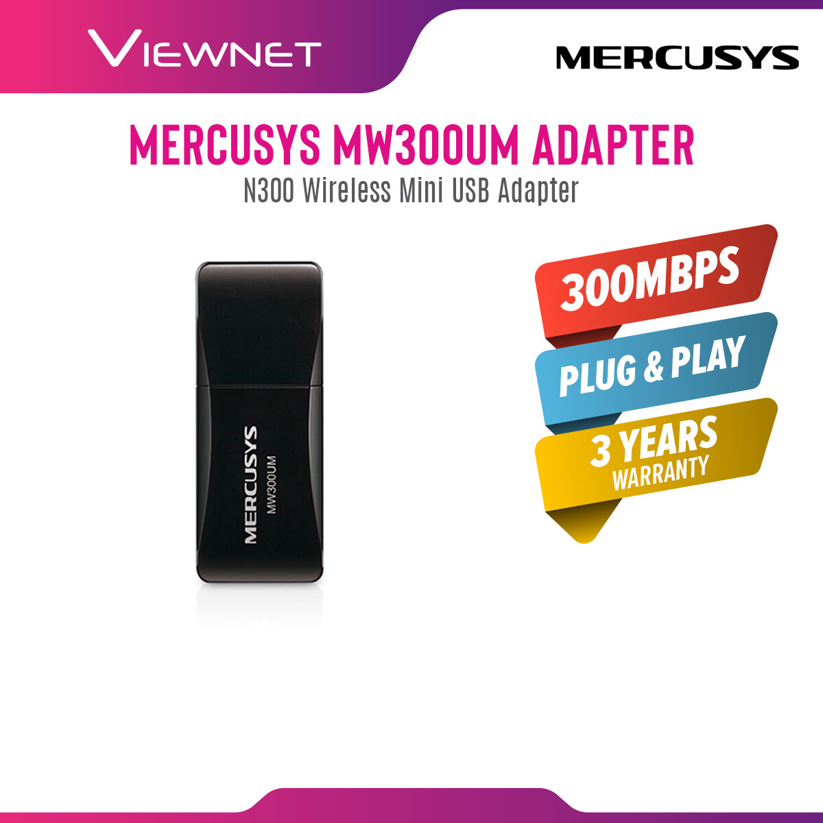 Mercusys MW300UM N300 300Mbps Mini USB Wireless WiFi Adapter w Hotspot (Powered by TP-Link)