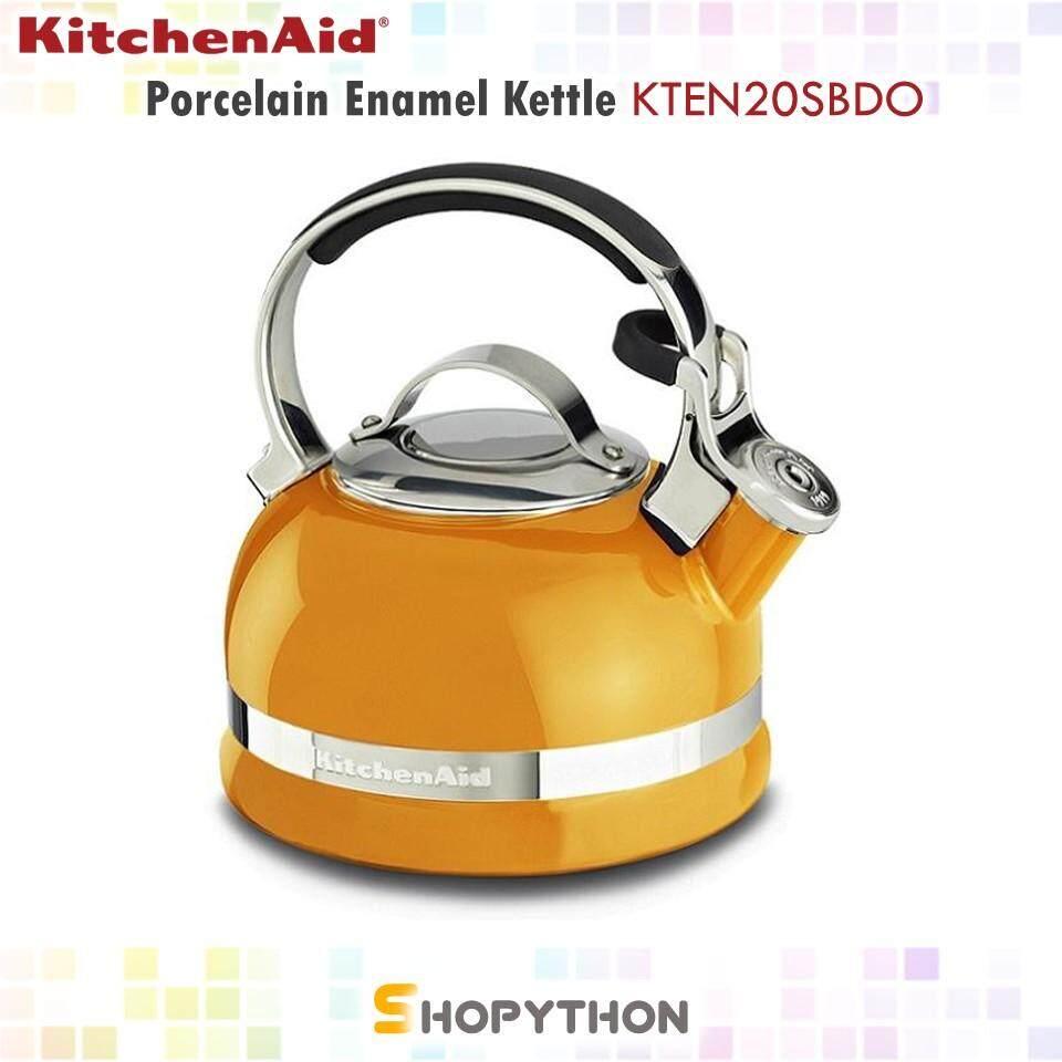 KitchenAid 2-Quart Porcelain Enamel Kettle KTEN20SBDO (1.9L) with Full Stainless Steel Handle Trim Band Mandarin Orange
