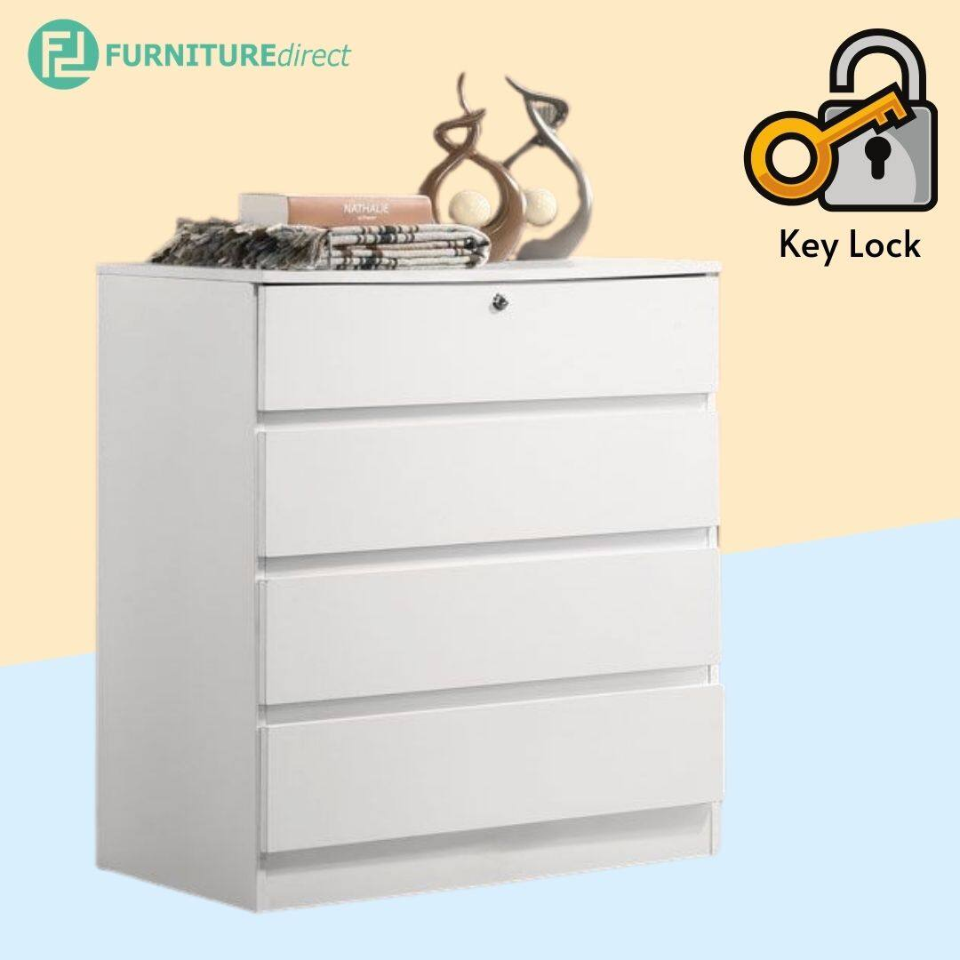 BRENDA 4 DRAWER CHEST WITH KEY LOCK wardrobe - WHITE