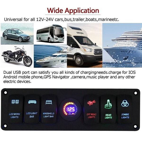 Car Lights - 12/24V 6 Gang Rocker Switch Panel Circuit Breaker Waterproof LED Voltmeter Car Marine Boat SUV RV - Replacement Parts