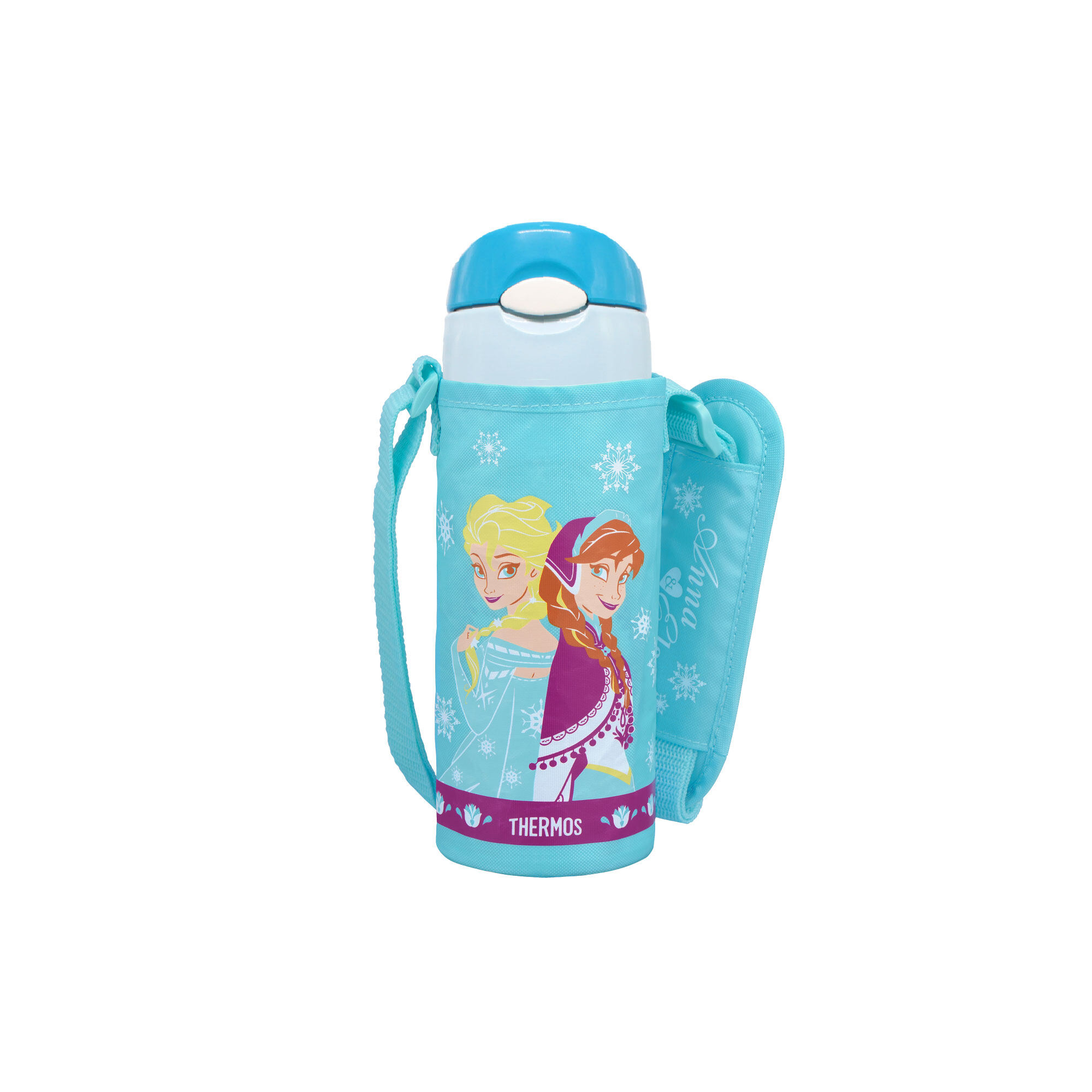 Disney Frozen 2 Princess  Elsa & Anna 400Ml Thermos Stainless Steel Ice Cold Bottle With Bag- Light Blue Colour