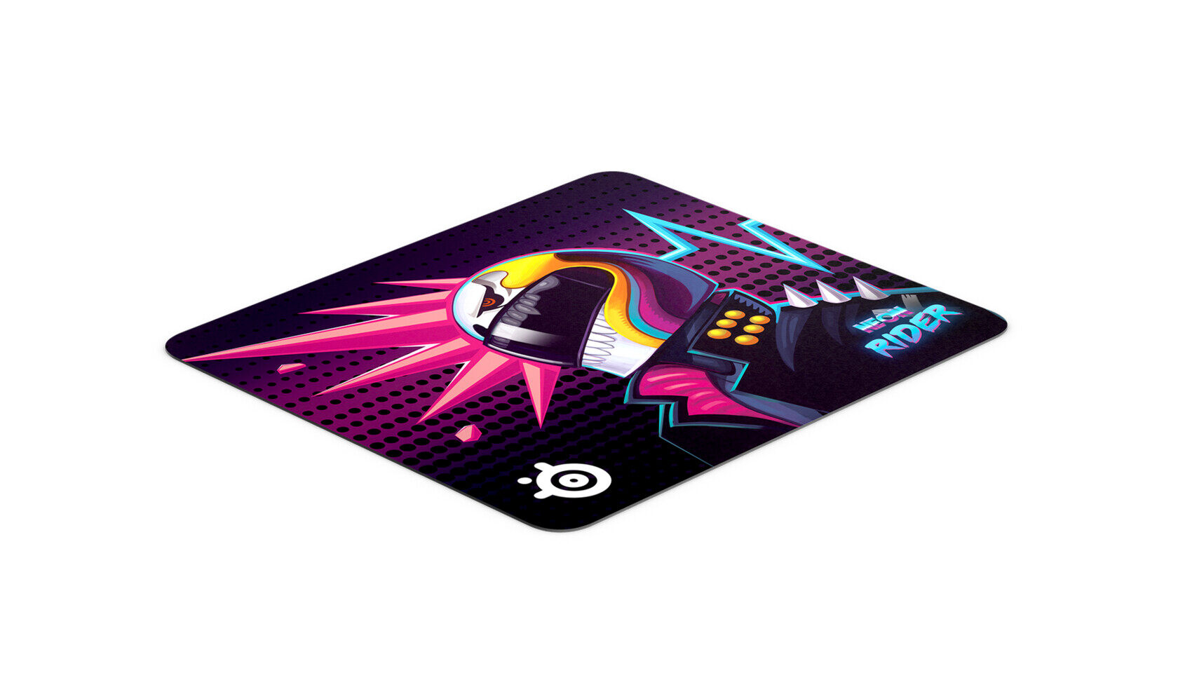 Steelseries Gaming Mouse Pad QCK Large Neon Rider Edition with Non-Slip Rubber Base, Durable and Washable for Easy Cleaning, Micro-Woven Cloth, Pinpoint Mouse Accuary