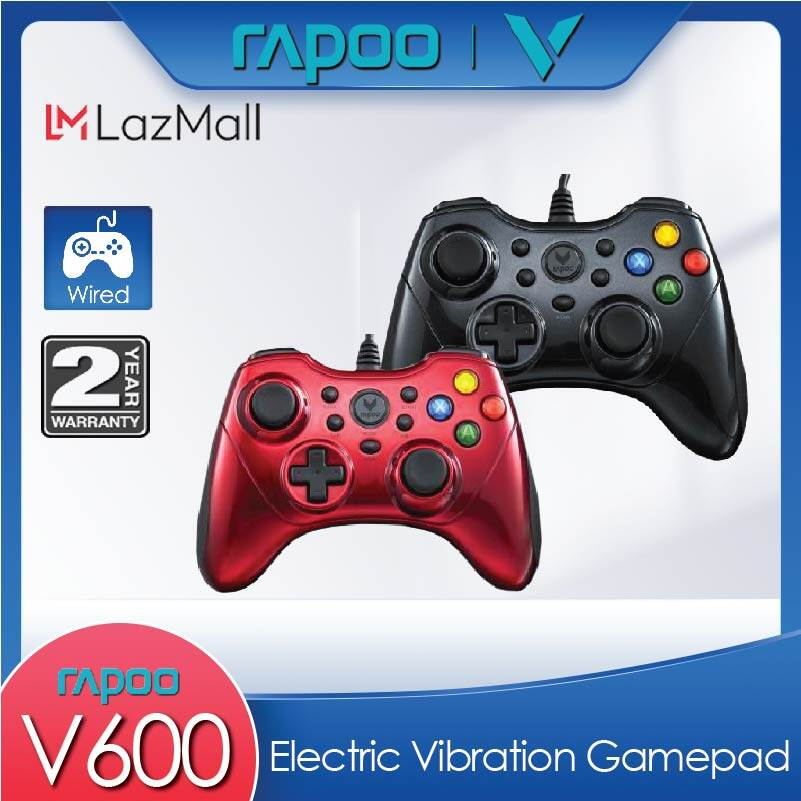 [FAST RESPONSE] RAPOO V600 Wired Gaming Controller Electric Vibration Gamepad (Red / Black) [2 Years Warranty]