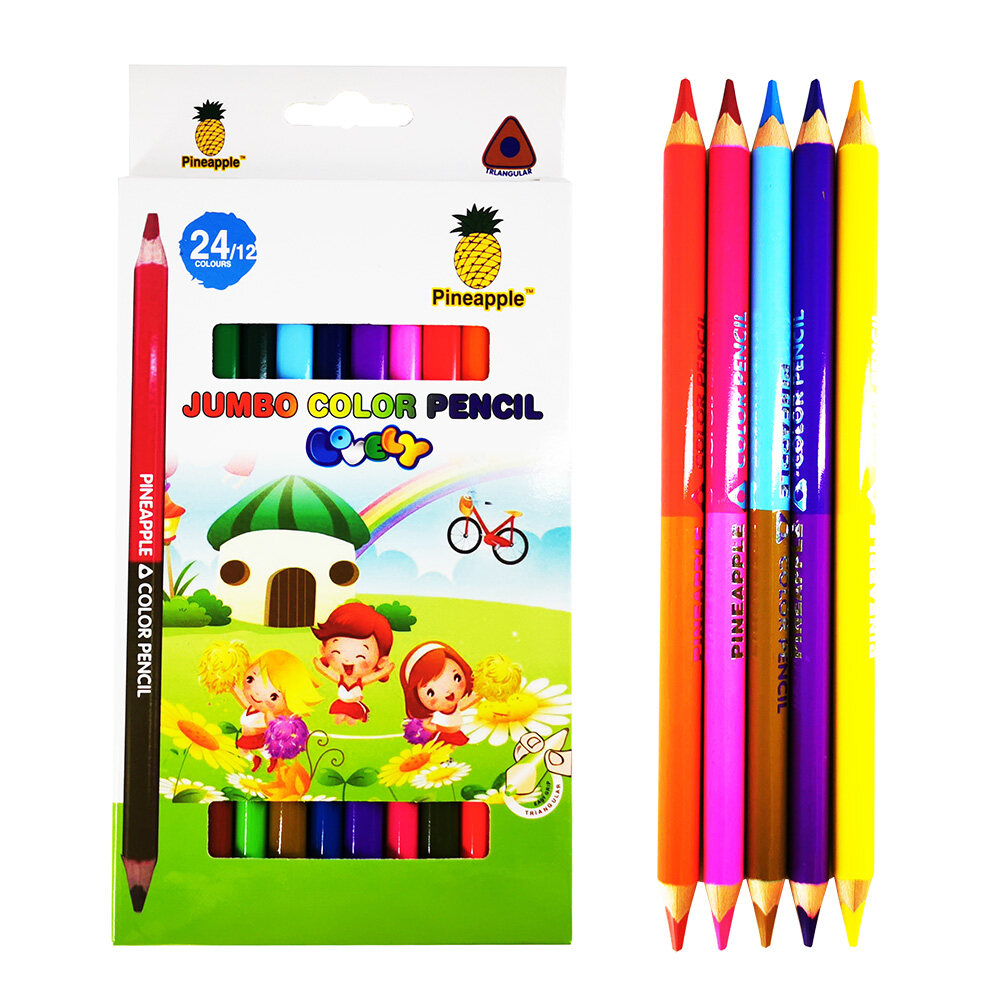 24 Colours Jumbo Color Pencil 2 in 1 Easy Grip Triangular Colour Pencil for School Kid Drawing