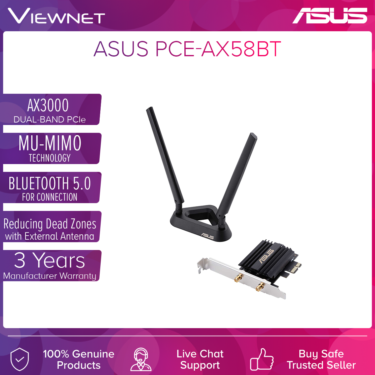 Asus AX3000 Dual Band PCI-E WiFi 6 (802.11ax) Adapter (PCE-AX58BT), 2 external antennas. Supporting 160MHz, Bluetooth 5.0, WPA3 network security, OFDMA, MU-MIMO