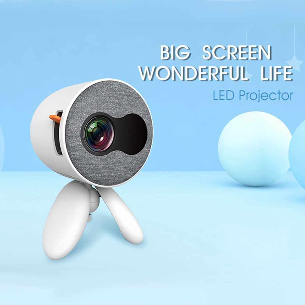 Aibecy YG220 Mini LED Projector 1080P Supported 1000 Lumens Portable Multimedia Projector Video Player Built-in Speaker with AV/USB/HD/TF Card/Audio Out Interface Children Gift for Home Entertainment (White)