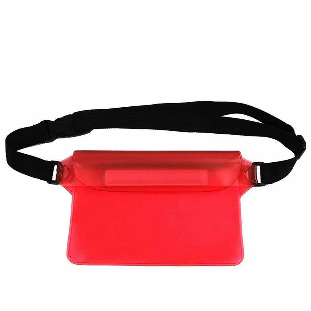Best Selling Waterproof Outdoor Swimming Drifting Pouch Dry Bag PVC Waist Phone Cover Storage Protective Bag Red (Red)