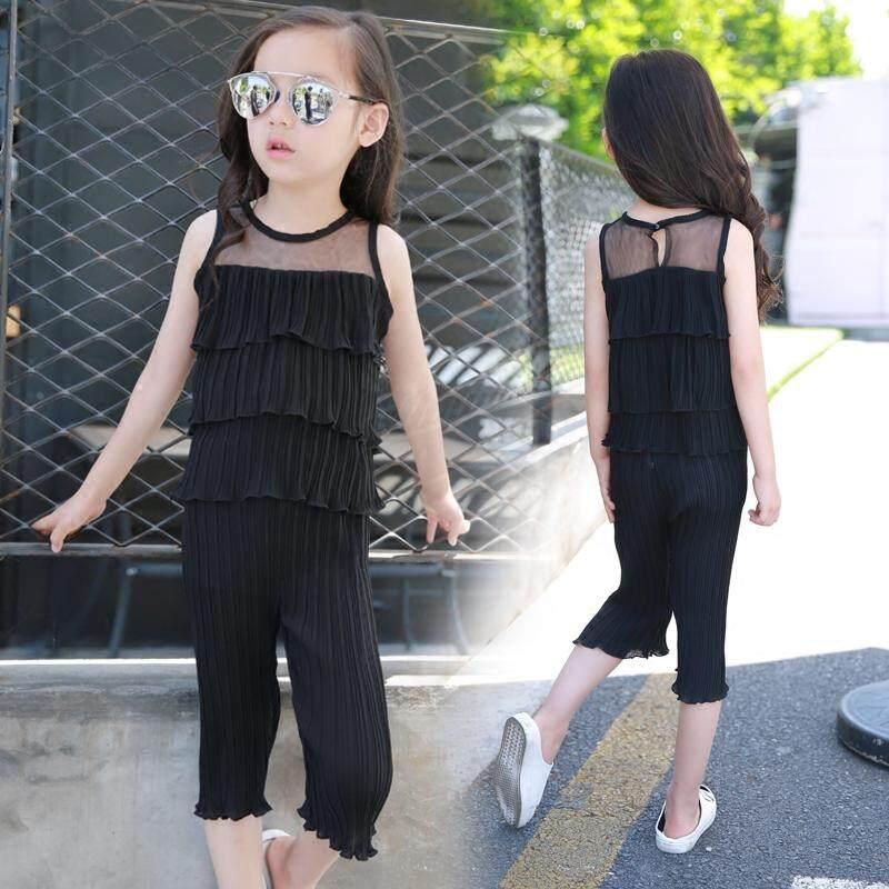 (Pre Order14 Days  JYS Fashion Korean Style KidsGirl2Piece Set(Top+Pant)Collection-5184758col518-4758--Black -120