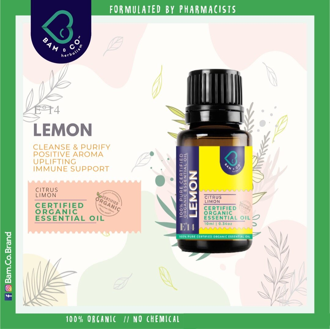 BAM & CO. LEMON CERTIFIED PURE ORGANIC ESSENTIAL OIL PERFECT FOR HUMIDIFIER 5ML 10ML AROMATHERAPHY