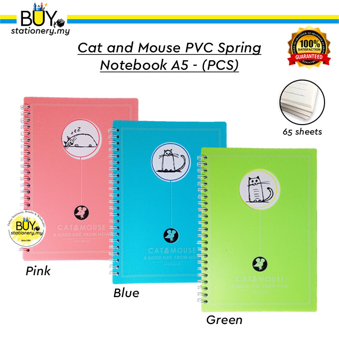 Cat and Mouse PVC Spring Notebook A5 - (PCS)