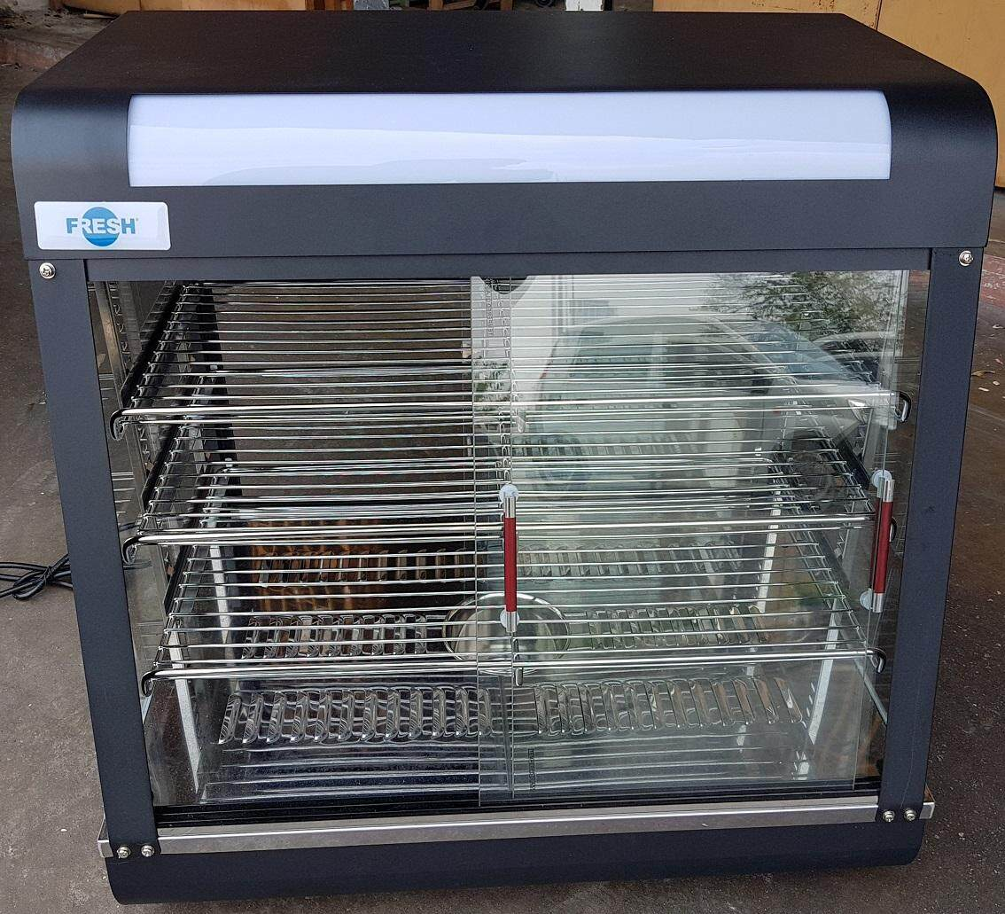 food display warmer warm keep hot heat heater tank store put boiler rack in handle holder hold holding water steamer power supply wire box eat top table show case present lock look see glass cup out down up tray pan disk cart layer electric portable led