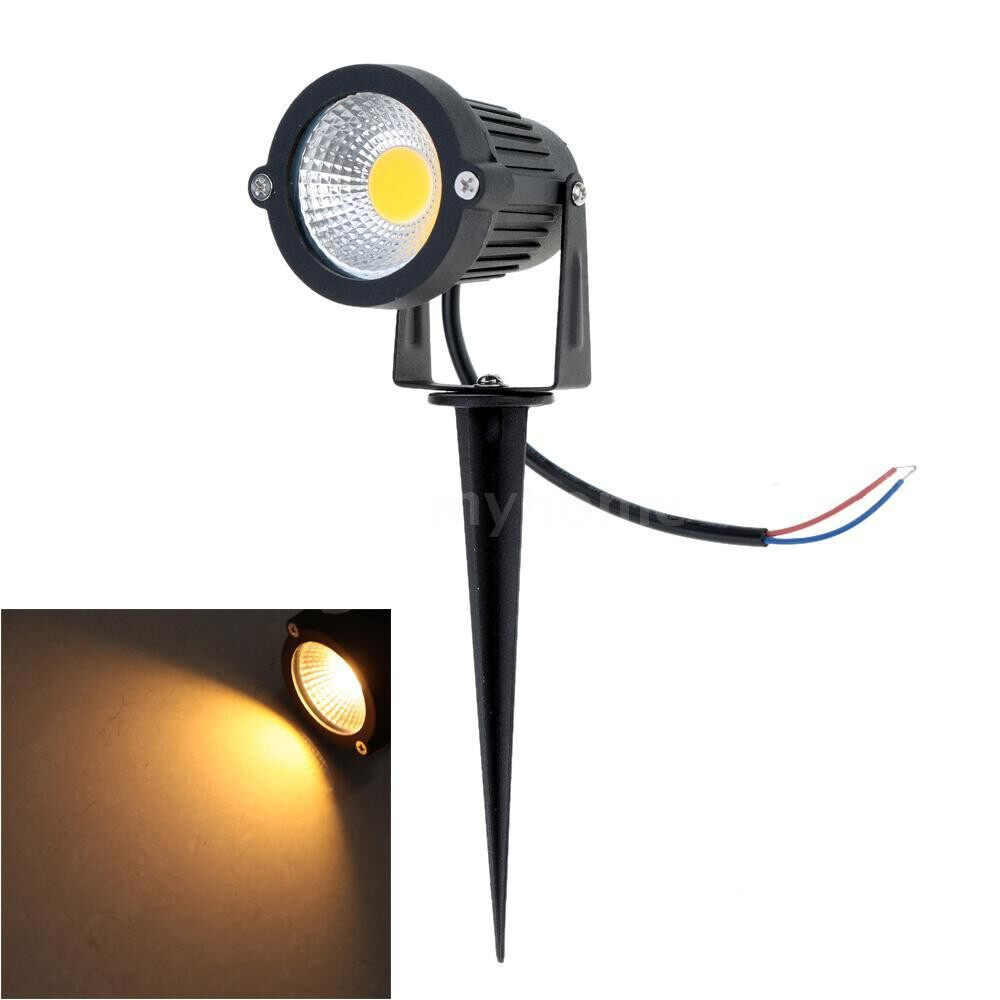 Outdoor Lighting - 10W 85-265V AC IP65 Black Aluminum LED Lawn Spot Light Lamp High Power RGB Warm/Nature White - WARM WHITE