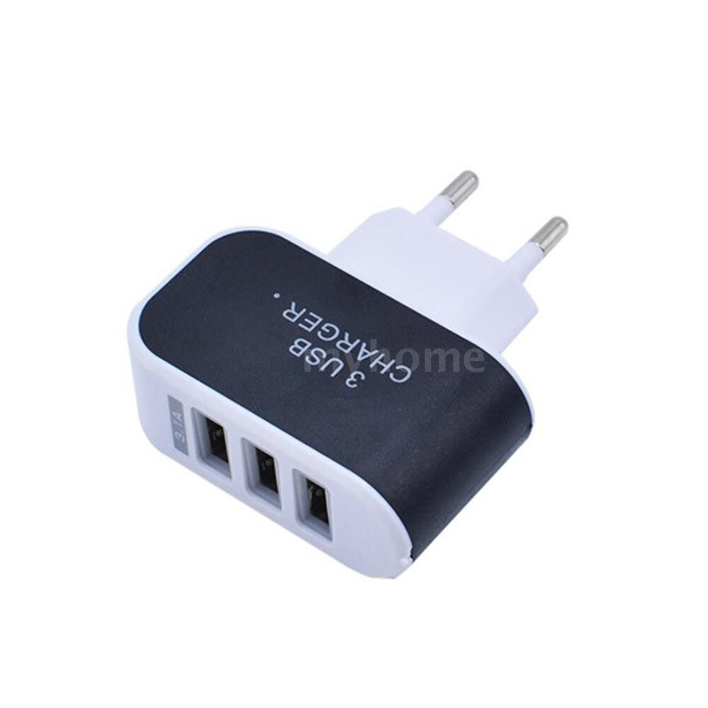Plugs & Adapters - Universal 3 Ports USB Wall Charger Home Travel AC Charger Adapter EU-Plug for Tablets Smartphones - Home Improvement