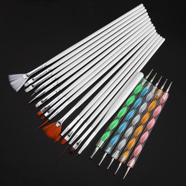 20 Cái/bộ Bút Vẽ Chấm GEL UV Acrylic Nghệ Thuật Làm Móng, Bàn Chải Bộ Làm Móng Tay