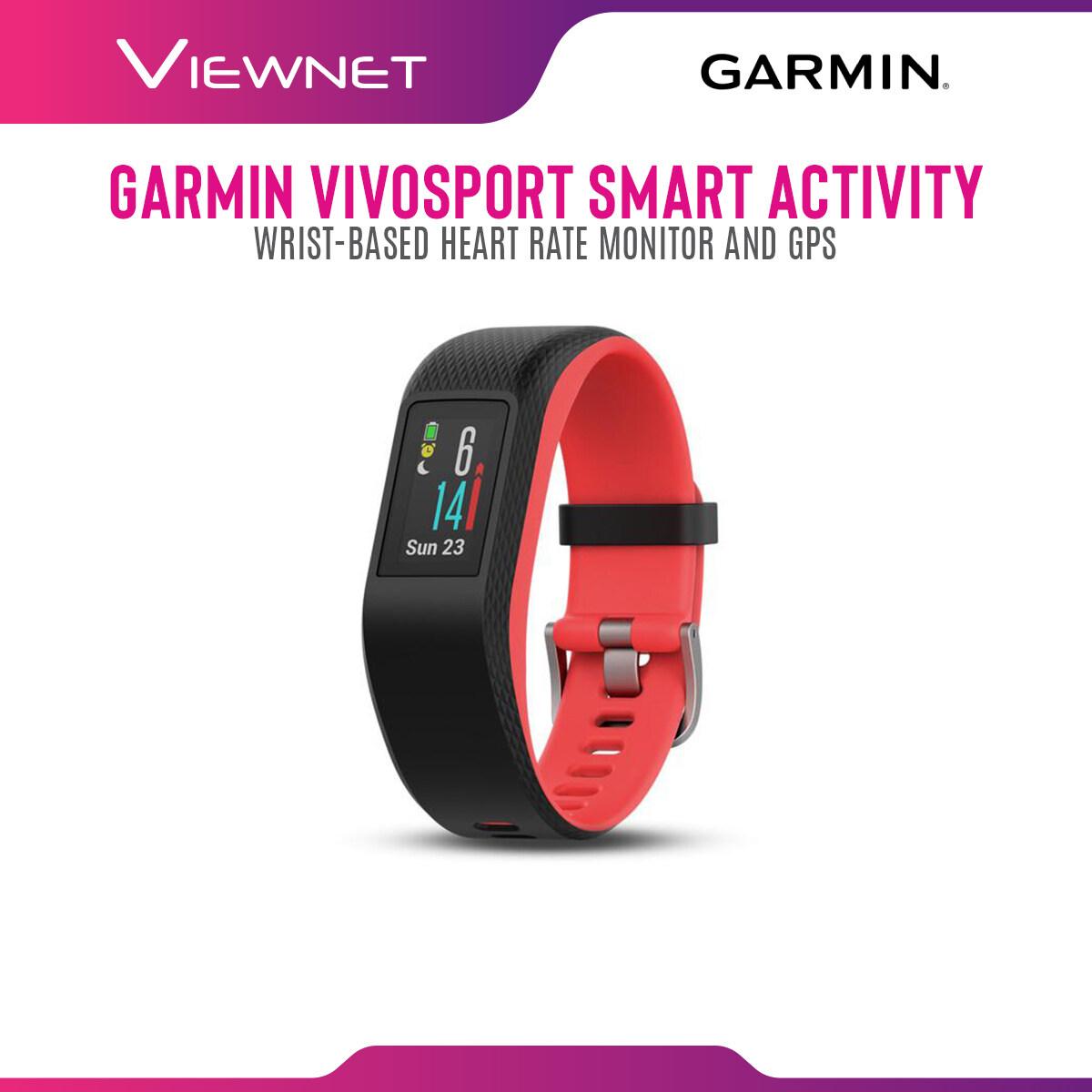 GARMIN VIVOSPORT SMART ACTIVITY TRACKER SMARTWATCH WITH WRIST-BASED HEART RATE MONITOR AND GPS (REGULAR) - SLATE /FUCHSIA FOCUS