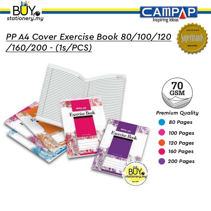 Campap PP A4 Cover Exercise Book 80/100/120/160/200 - (1s/PCS)