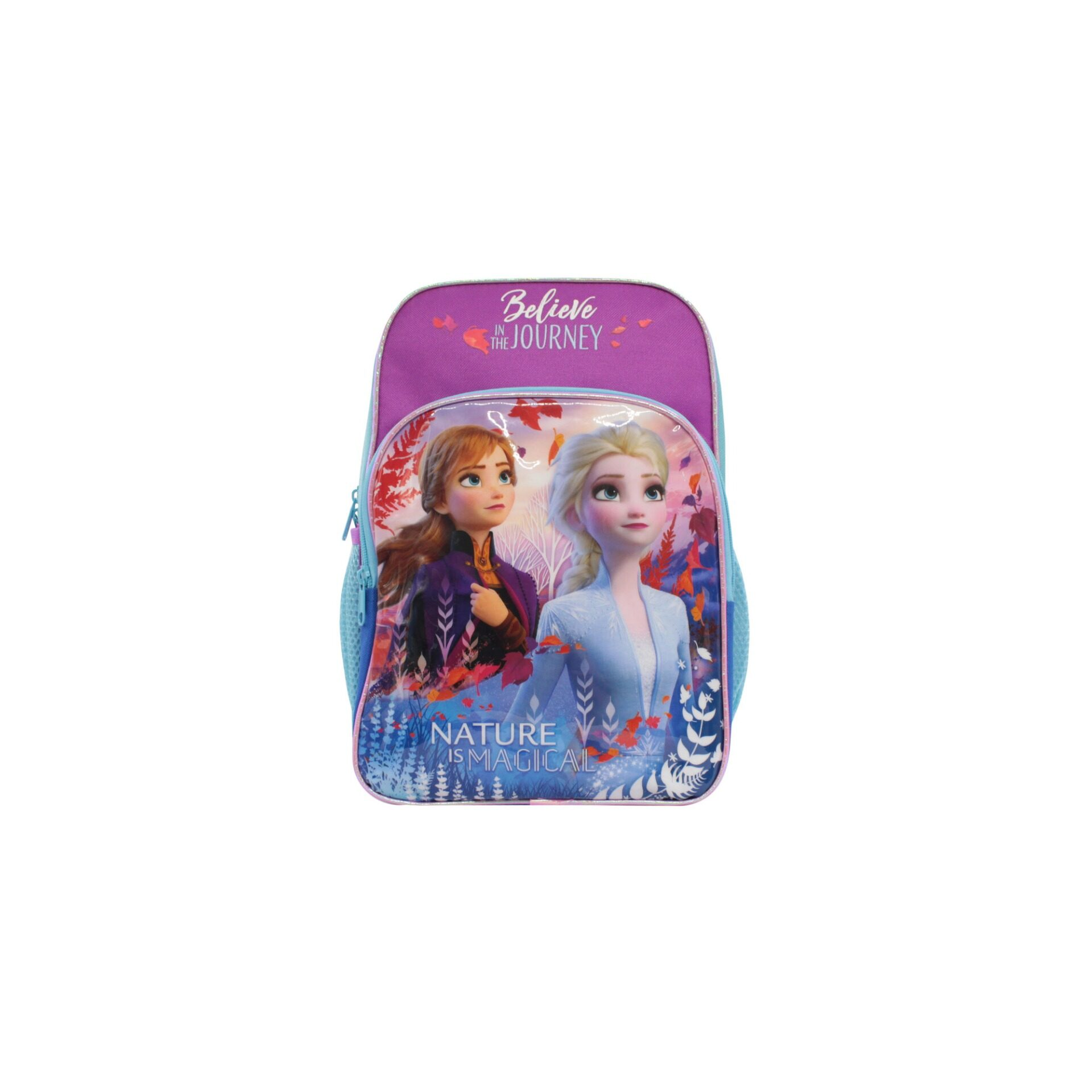 Disney Princess Frozen 2 Princess Elsa & Anna Nature Is Magical Girls 12 Inch Nylon School Backpack (Purple & Turqoise)