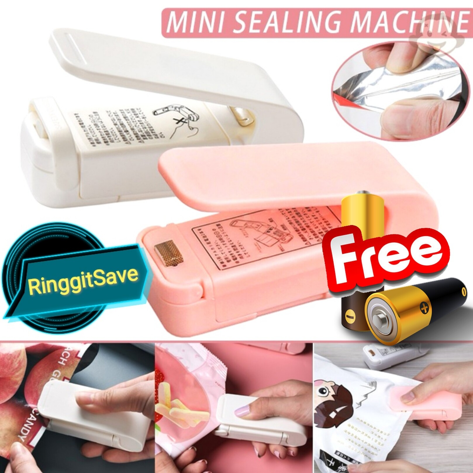 Portable Heat Sealer Plastic Package Bag Mini Household Sealing Machine Sealer Food Plastic Bag Capper Sealer