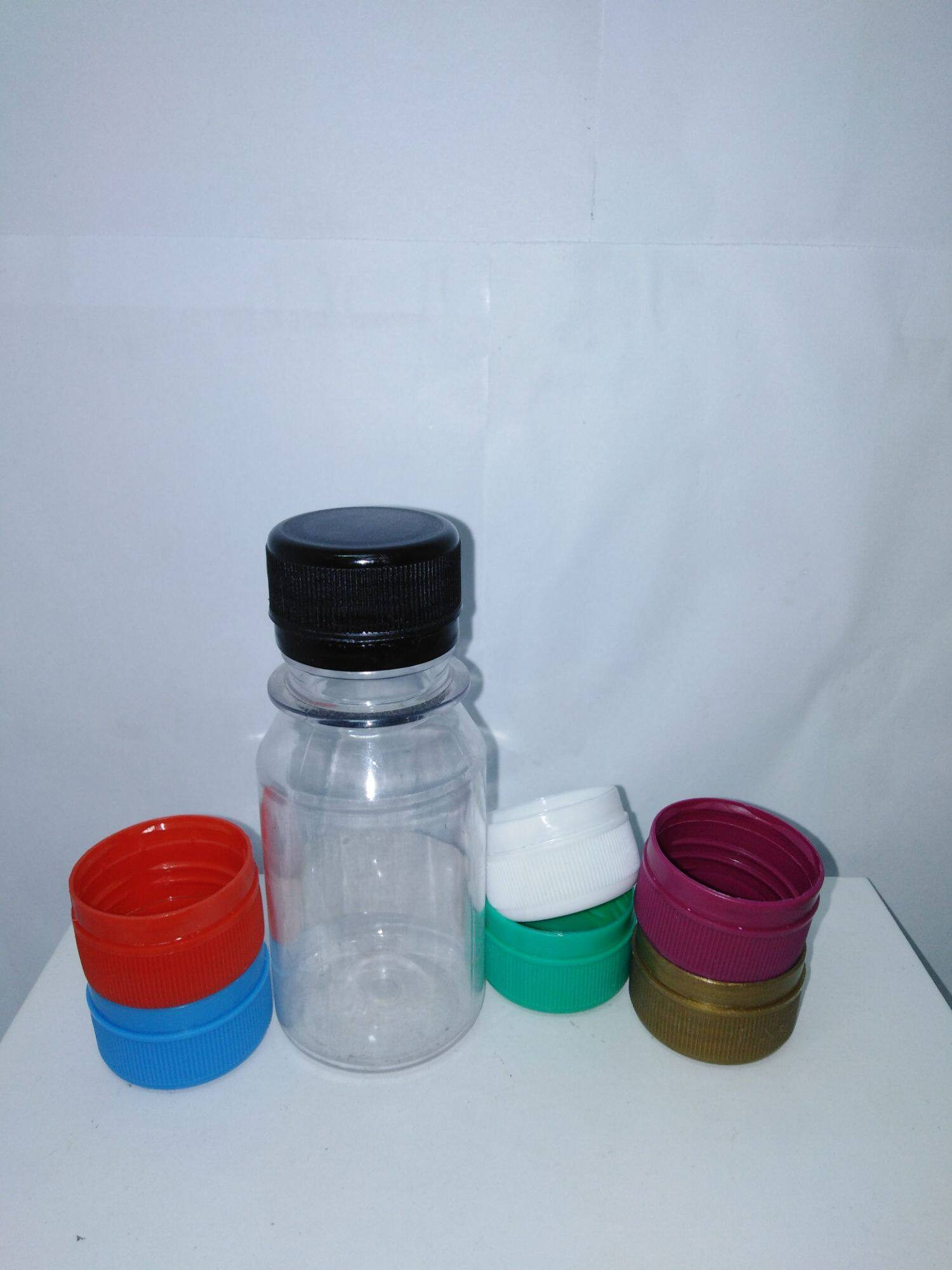 100pc of 60ml plastic bottle with colorful caps
