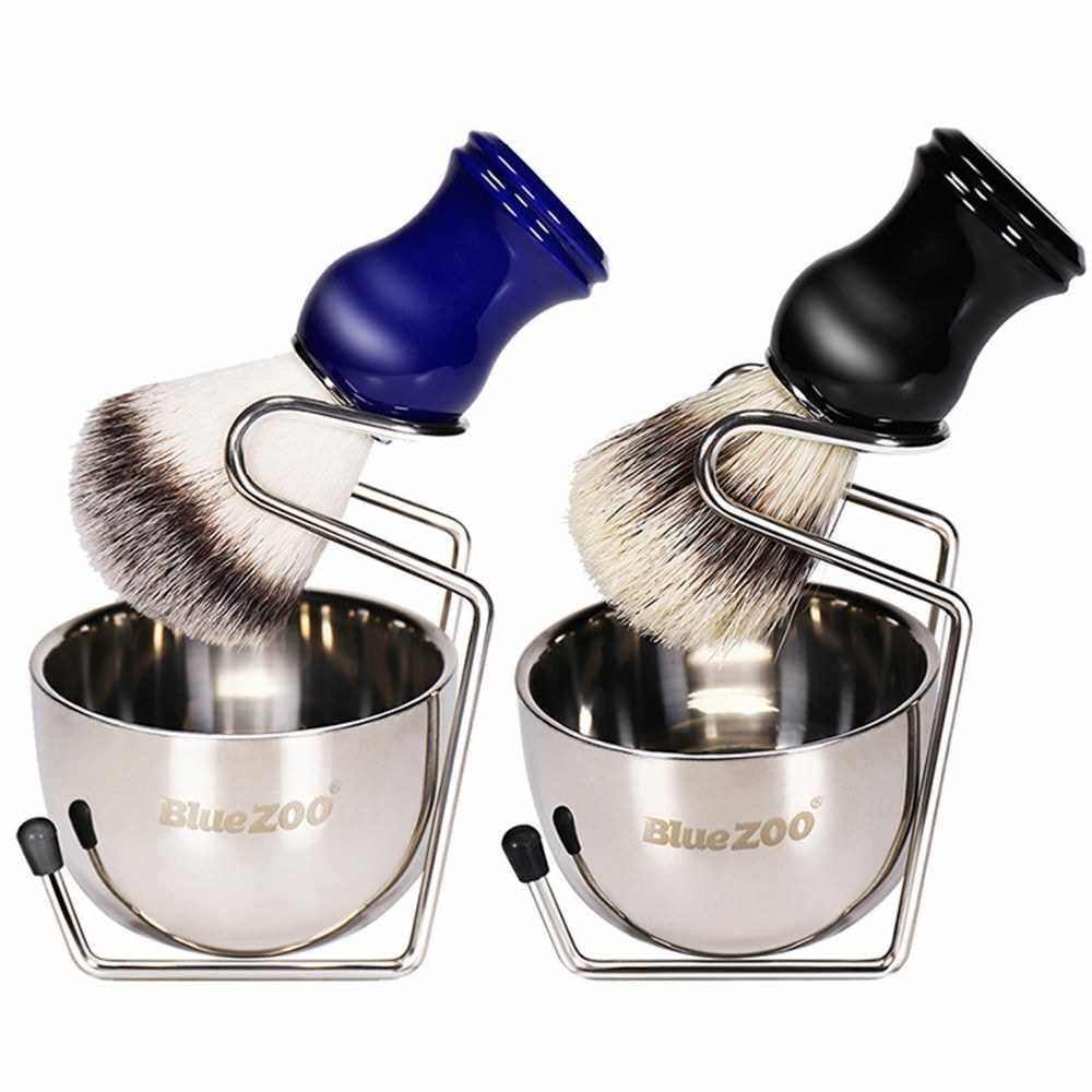 People's Choice Blue ZOO Shaving Kit Set for Men's Wet Shaving Brush Holder Stand Bracket Rack Soap Bowl Mug Hair Removal Beard Brush Portable (2)